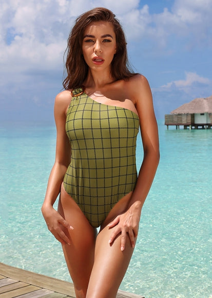 Free Shipping -- Green Plaid One Shoulder With Ring Monokini