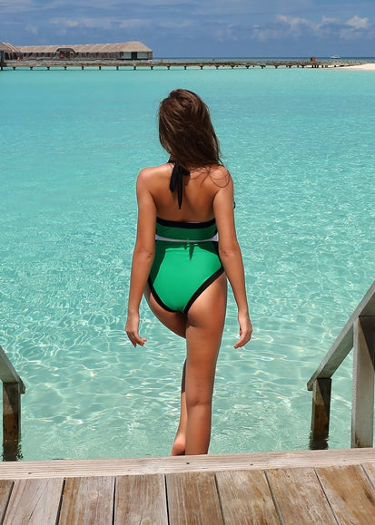 Free Shipping -- Green Color Block Halter Monokini