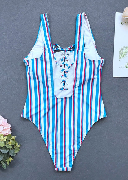 Free Shipping -- Stripe Bandage Hollow out in Back Monokini