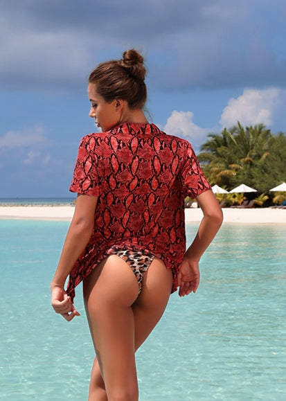 Free Shipping -- Red Snakeskin Short Sleeve Beach Shirt