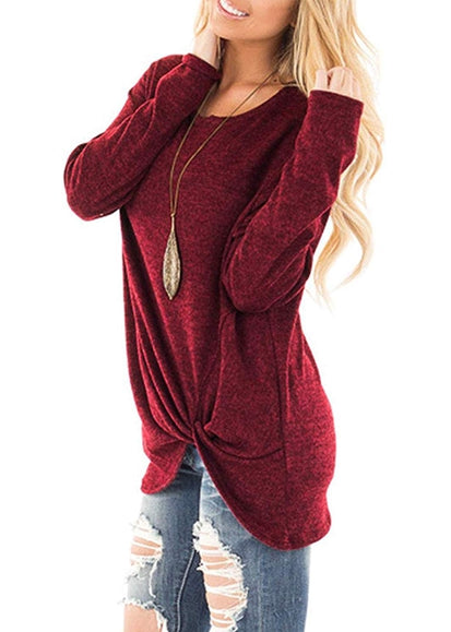 Free Shipping -- Women's Casual Wine Red T Shirts Twist Knot Tunics Tops