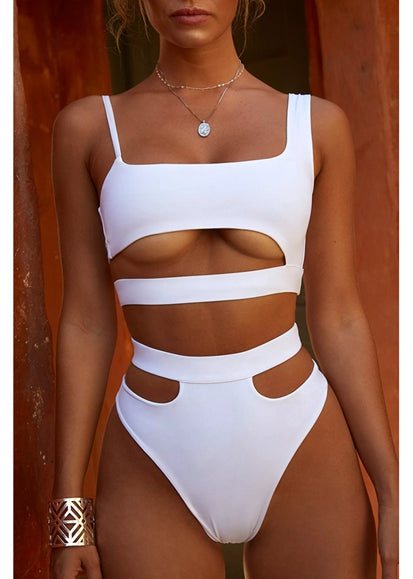 Free Shipping -- Solid Color Hollow Out Hight Waisted Monokini