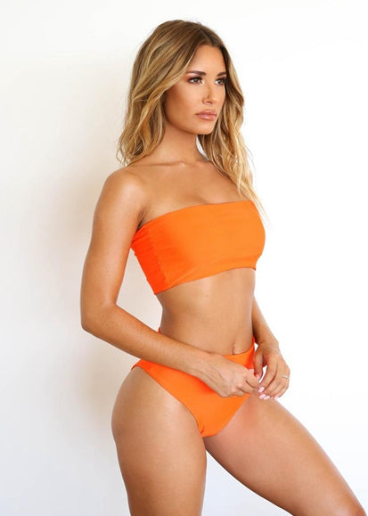 Free Shipping -- Sexy Solid Color Bandeau High Waisted Bikini