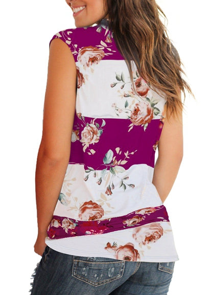 Free Shipping -- Womens Sleeveless V Neck Floral Print Blouse Tunic Cotton Tops