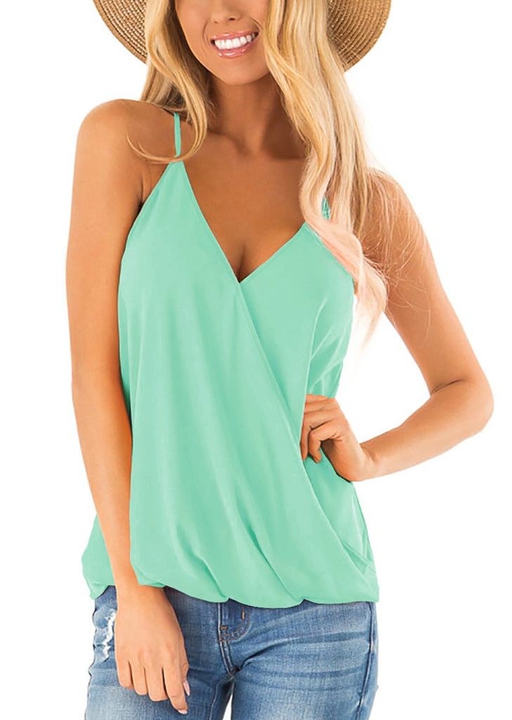 Free Shipping -- Summer Sleeveless Shirts Deep V Neck Wrap Tank Tops