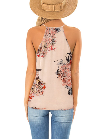 Free Shipping -- Womens Summer Floral Print Deep V Neck Wrap Spaghetti Strap Tank Tops