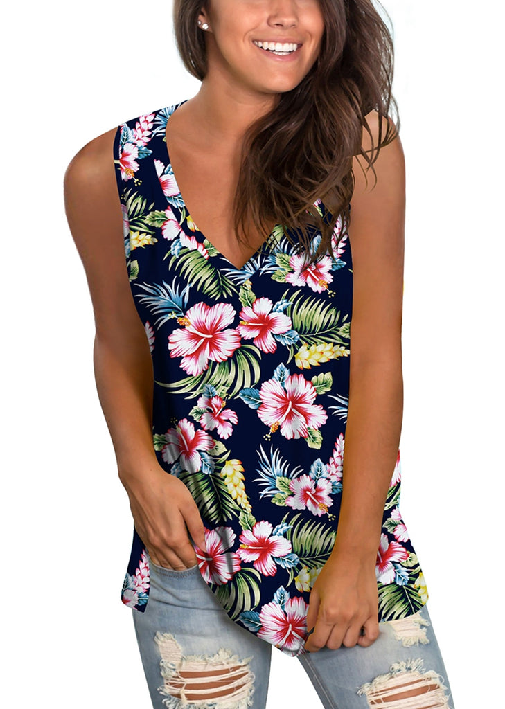 Free Shipping -- Floral Print V Neck Sleeveless Shirts Side Split Tunic Tank Tops