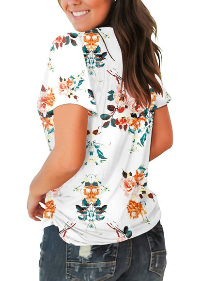 Free Shipping -- White Floral Print Short Sleeve T Shirts V Neck Tops