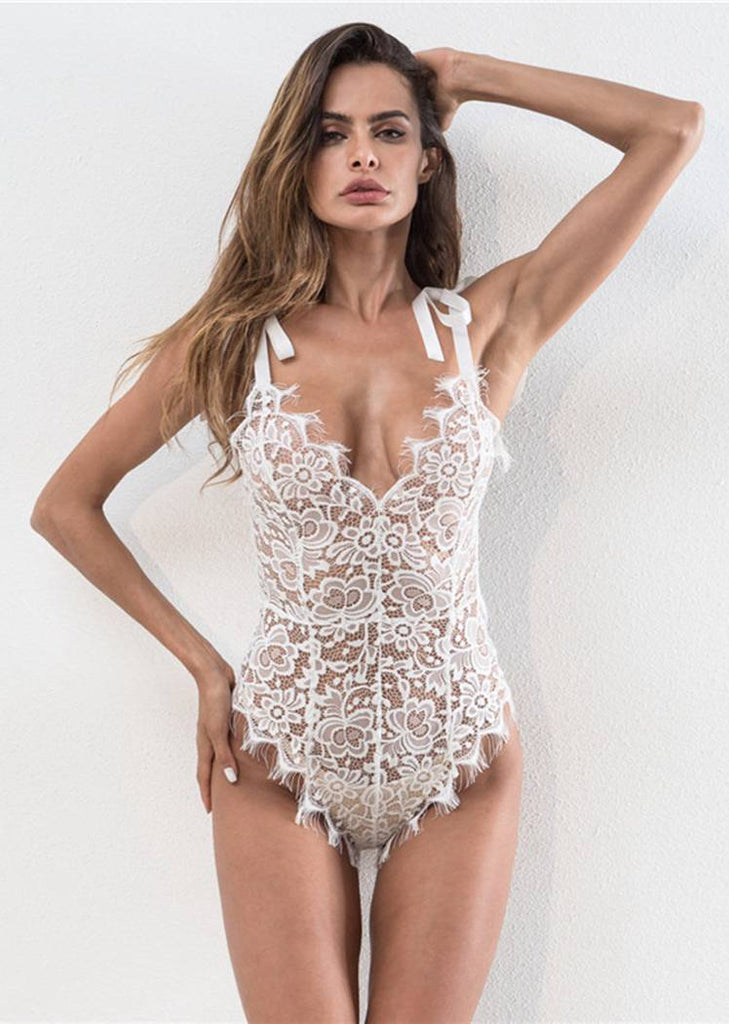 Free Shipping -- White Embroidered V-neck Lace Up Teddy Bodysuits Lingerie