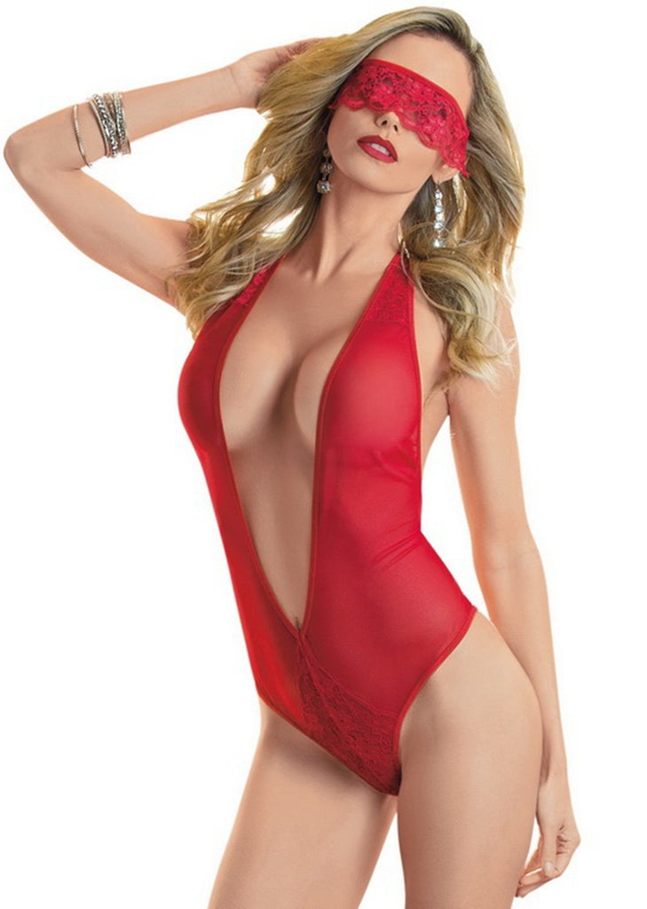 Free Shipping -- Red Halter Lingerie Set Deep V-Neck Backless Teddy Bodysuit