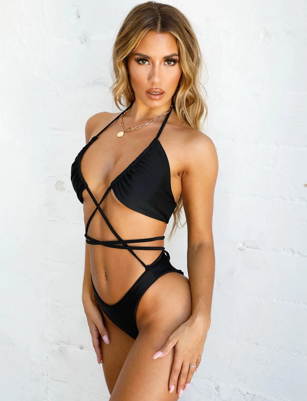 Free Shipping -- Sexy Solid Pleated Cross String Micro Halter Bikini