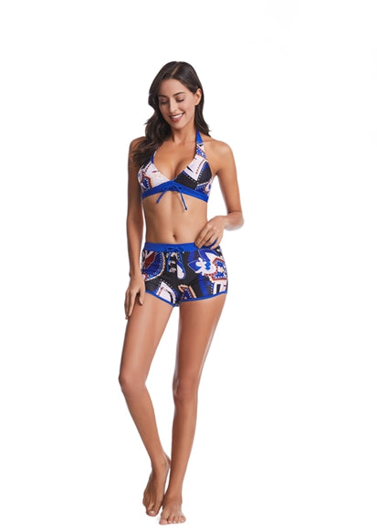Free Shipping -- Sexy Halter Flower Print High Waisted Bikini For Women