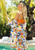 Free Shipping -- Yellow Floral Print Ruffle High Waisted Bikini Set & Cover Ups