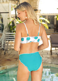 Free Shipping -- Blue Ice Cream Print High Waisted Bikini Set & Cover Ups