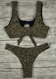 Free Shipping -- Gold Leopard Print High Waisted Bikini Set & Cover Ups