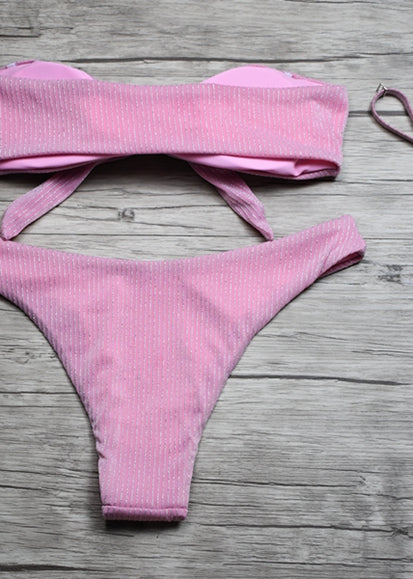 Free Shipping -- Pink Tie A Knot High Waisted Bikini Set & Cover Ups