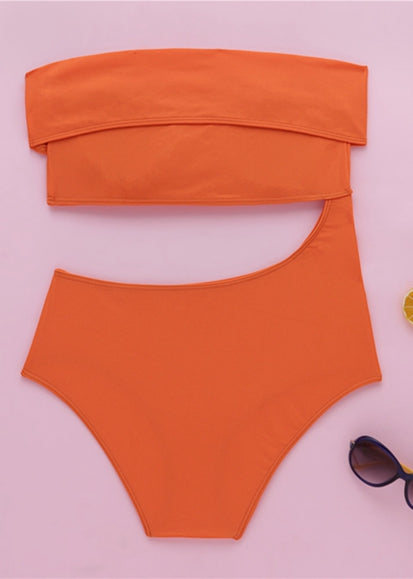 Free Shipping -- Solid Color Hollow out Single Shoulder Strap Monokini