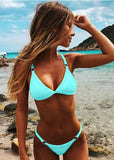 Free Shipping -- Sexy Push Up Triangle Bikini With Bandage For Women