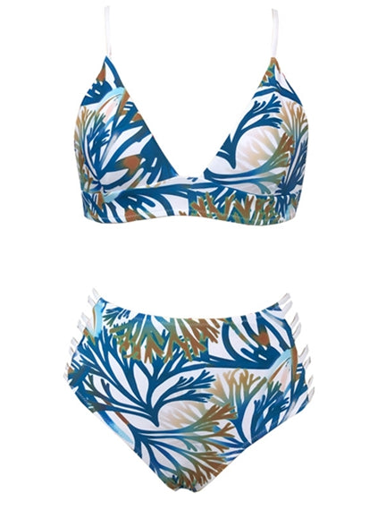 Free Shipping -- Sexy High Waisted Leaf Print Bikini For Women
