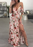 Free Shipping -- Floral Print Deep V Camisole Dress Cold Shoulder Summer Beach Dress