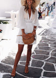 Free Shipping -- White Deep V-Neck Evening Dress Long Sleeve Short Lace Dress