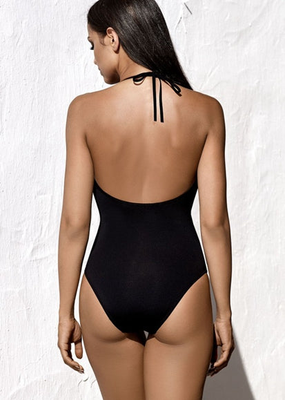 Free Shipping -- Fashion Solid Deep V-Neck Halter Monokini