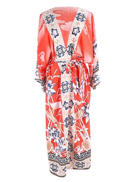 Free Shipping -- Vintage Floral Print Long Sleeve V-Neck Loose Kaftan Cardigan Cover Ups Maxi Long