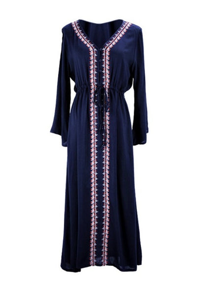 Free Shipping -- Navy Blue Embroidered V-Neck Long Sleeve Beach Dresses