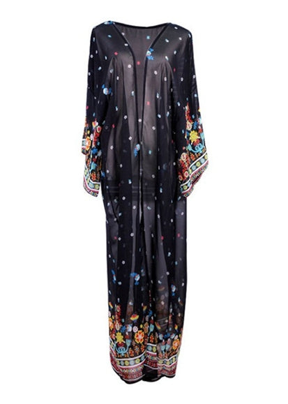 Free Shipping -- Embroidered Flower With Black Chiffon Cardigan Cover Ups Maxi Long