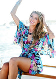 Free Shipping -- Blue Chiffon Butterfly Print Short Sleeve Cardigan Cover Ups