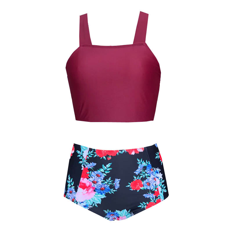 Free Shipping -- Flower Print Wrap High Waisted Tankini