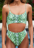 Free Shipping -- Women Sexy Snakeskin Print Spaghetti Straps Bandeau Hollow out Bikini Set