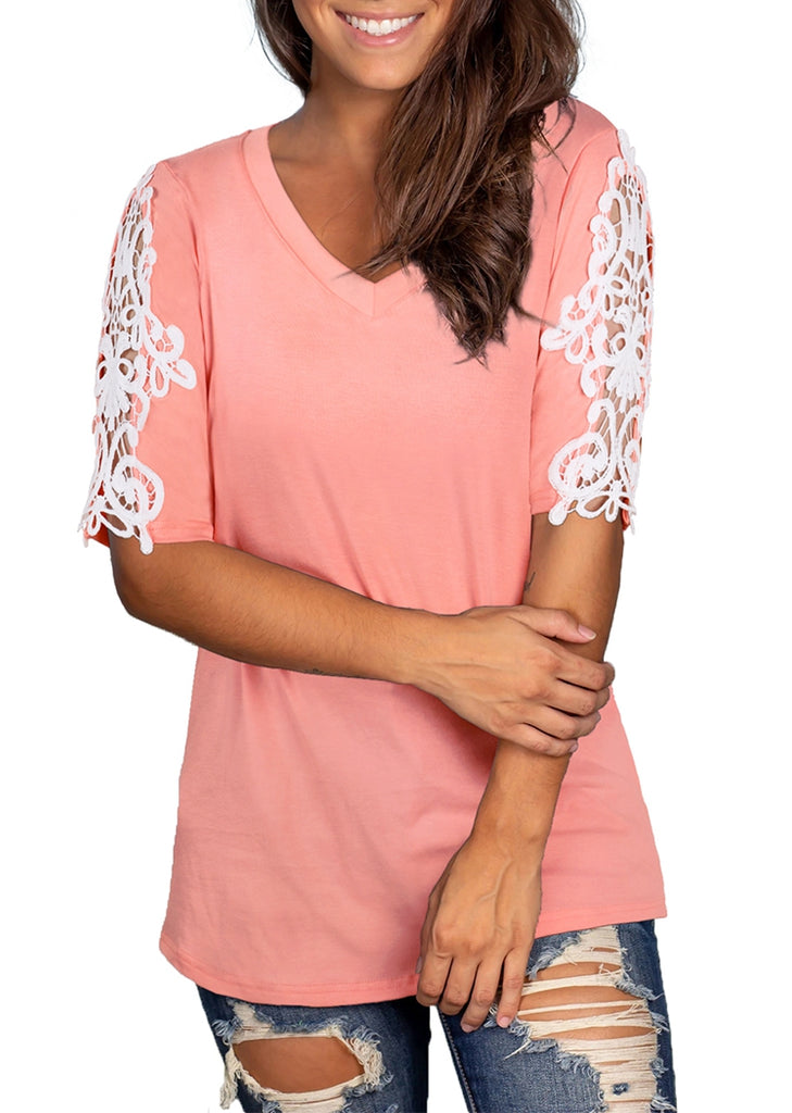 Free Shipping -- Lace Short Sleeve Loose T-Shirt V-Neck Summer Tops