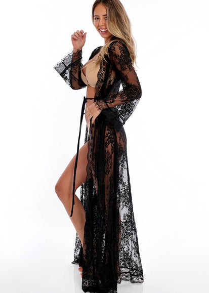Free Shipping -- Women's Full Lace White Embroidered Loose Maxi Beach Dress Bikini Cover Ups