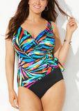 Free Shipping -- Multicolor Leaf Print V-Neck Monokini