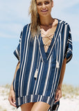 Free Shipping -- Blue/White Stripe Bandage Front Deep V-Neck Swimsuits Short Cover Ups