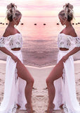Free Shipping -- Lace Off The Shoulder High Slit Beach Dresses