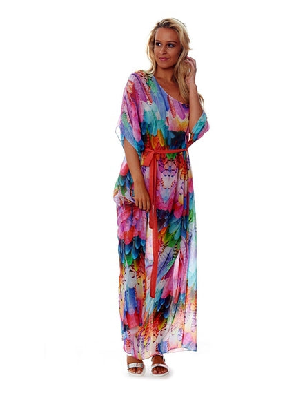 Free Shipping -- Colorful Feathers Print Chiffon Loose Maxi Vintage Cover Ups