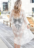 Free Shipping -- Solid Lace Mesh Embroidered Long Sleeve Cardigan Cover Ups
