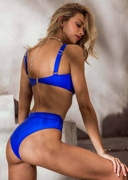 Free Shipping -- Solid Color Shoulder Strap Bandeau High Waisted Bikini
