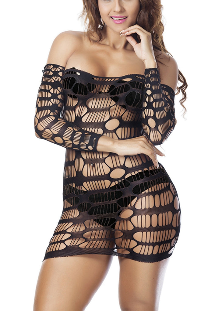 Free Shipping -- Black Fishnet Lingerie With Sleeves Bodycon Dress