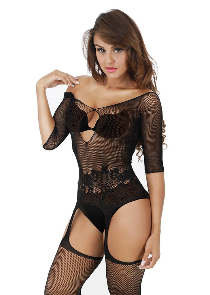 Free Shipping -- Cutout Off Shoulder Bodystockings Crotchless Garter Lingerie