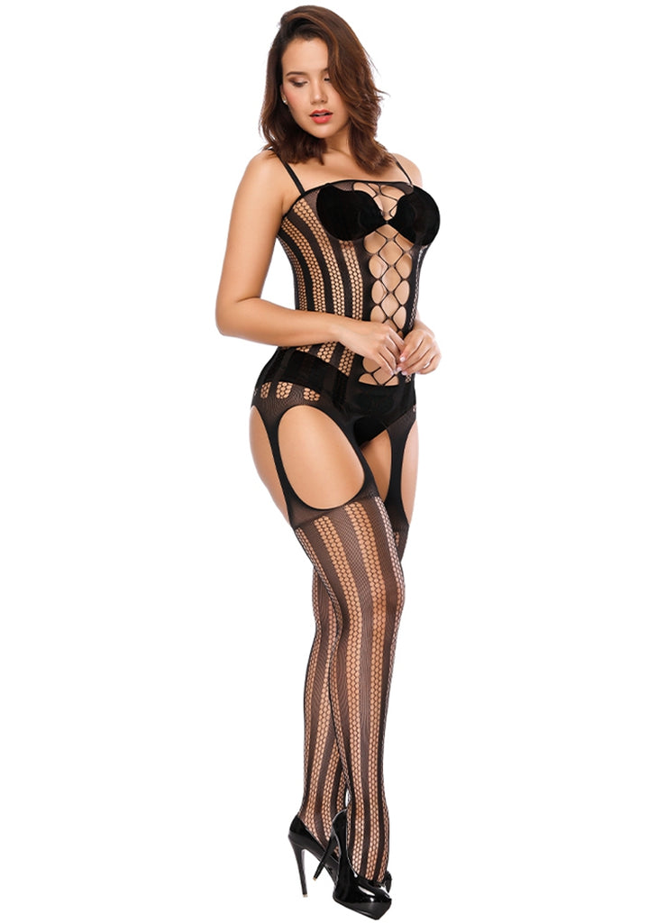 Free Shipping -- Black Cutout Lingerie Corset Front Bodystocking