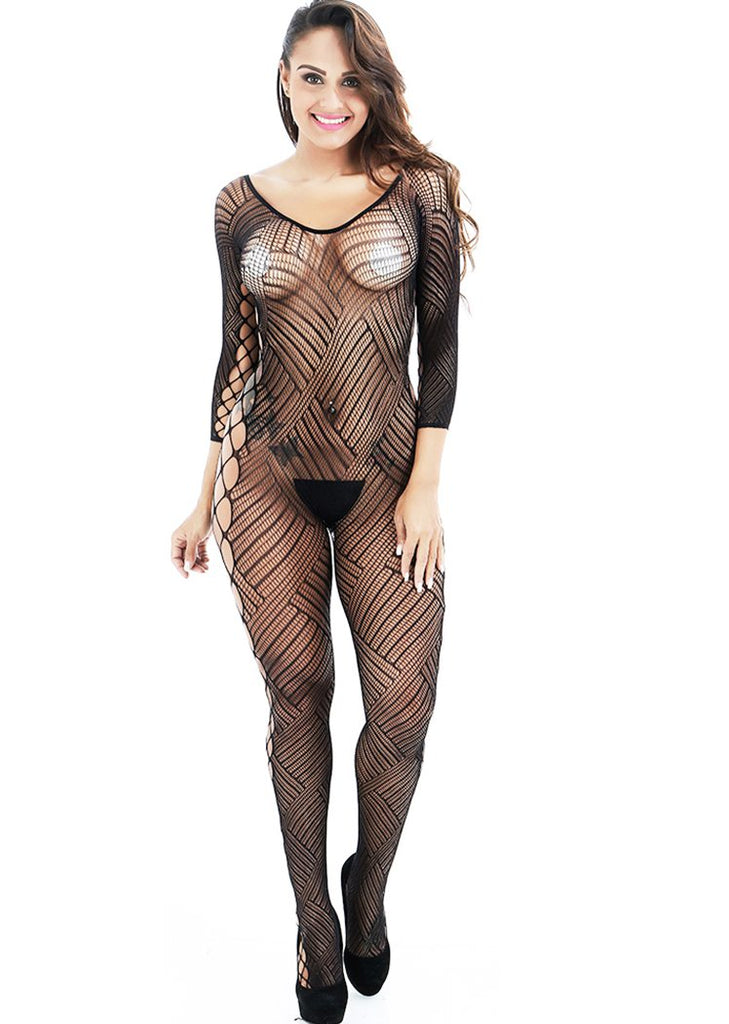 Free Shipping -- Bodystocking Long Sleeve Mesh Cuout Lingerie Underwear