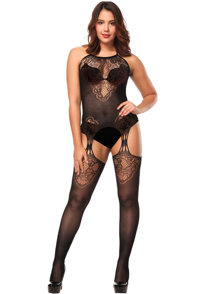 Free Shipping -- Black Sun Flower Cutout Crotchless Bodystocking Lingerie