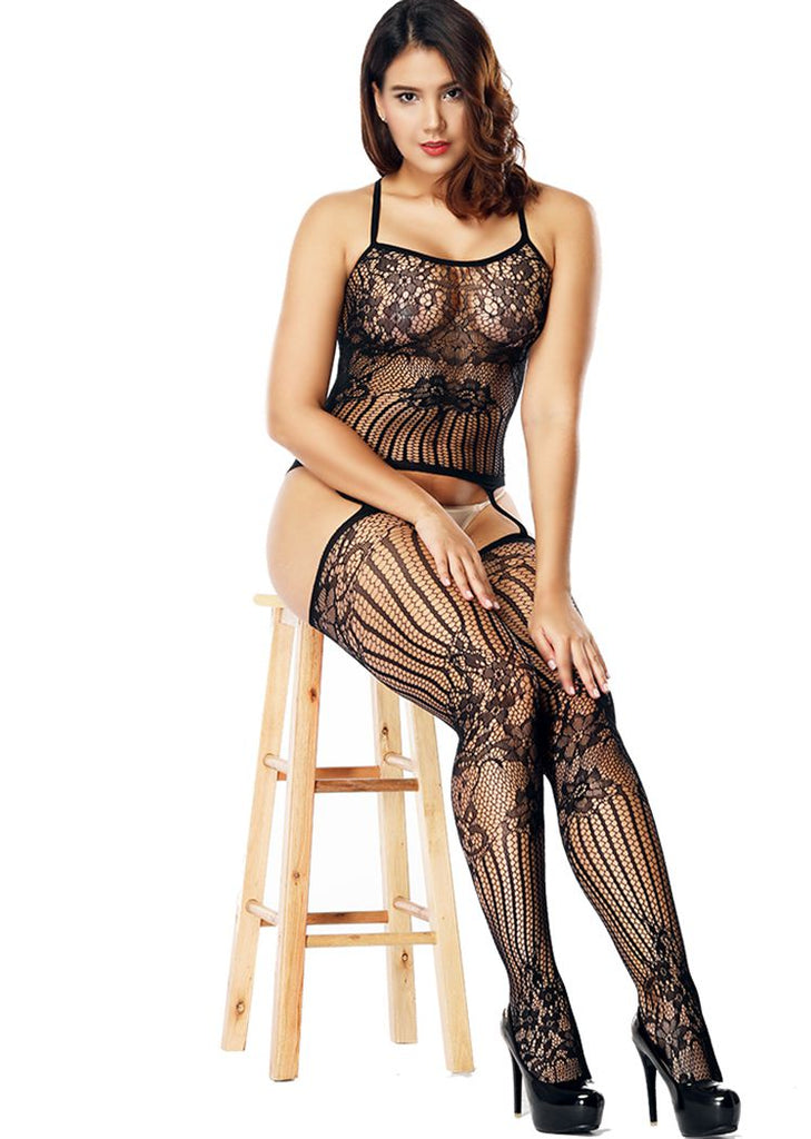Free Shipping -- Black Embroidered Cutout Cross Back Bodystocking Lingerie