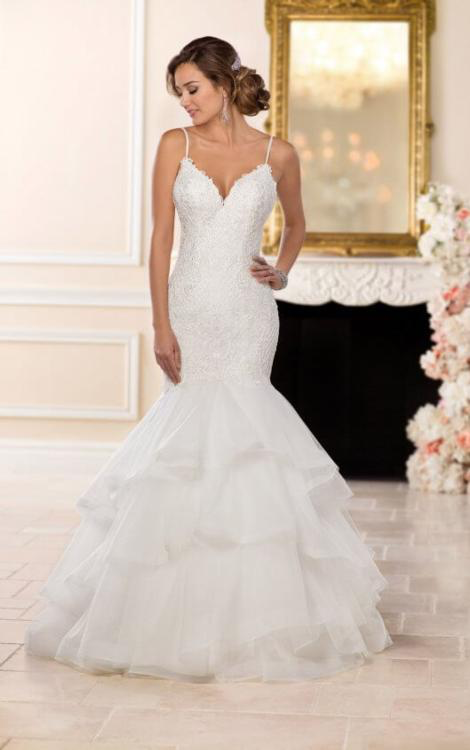 Stella York 6519 Stunning Drop Waist gown with detailed lace latticework and strappy back