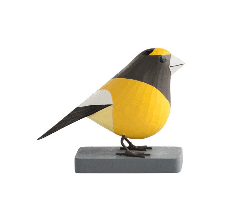 Charley Harper Evening Grosbeaks, Sculpture en bois
