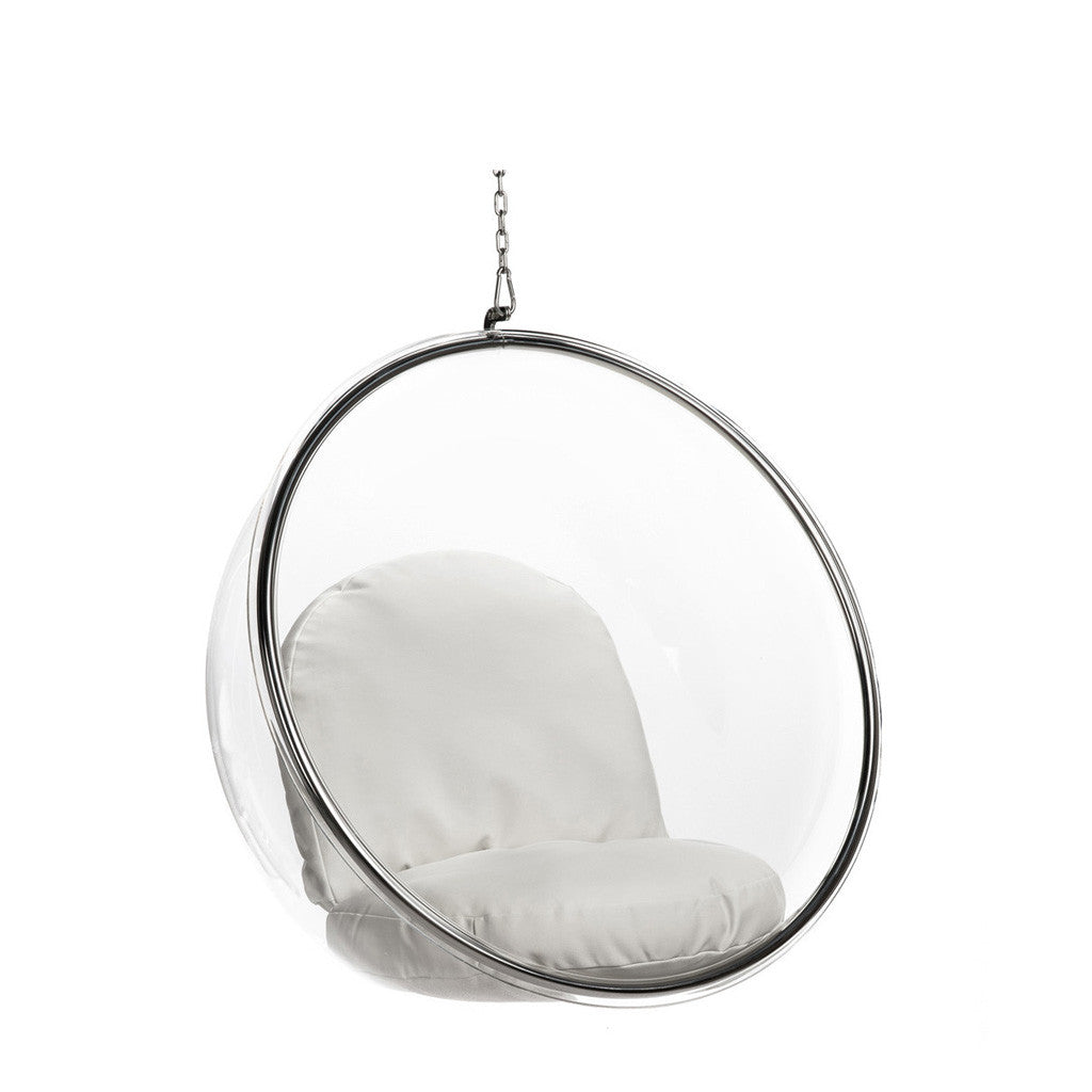 lounge ball chair transparent Transparent acrylic globe chair with cushions and chain. fauteuil suspendu avec chaine