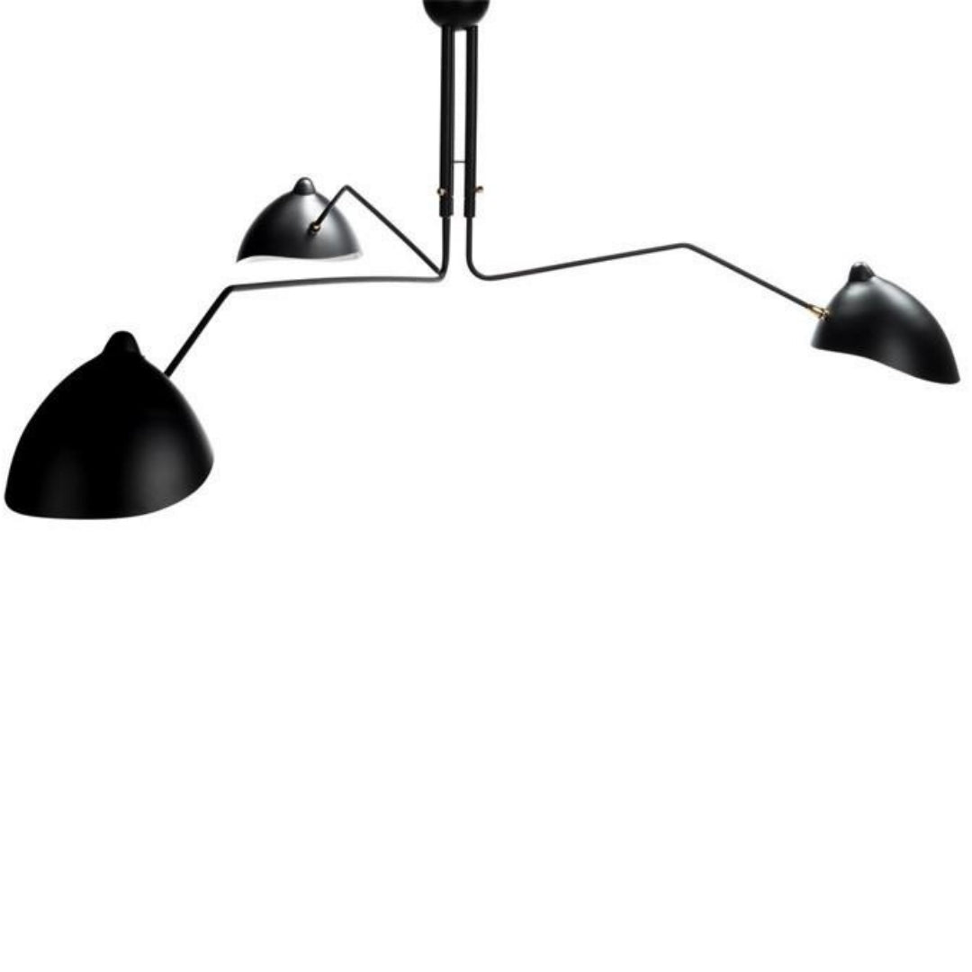 Serge Mouille Three-Arm Mounted Ceiling Lamp